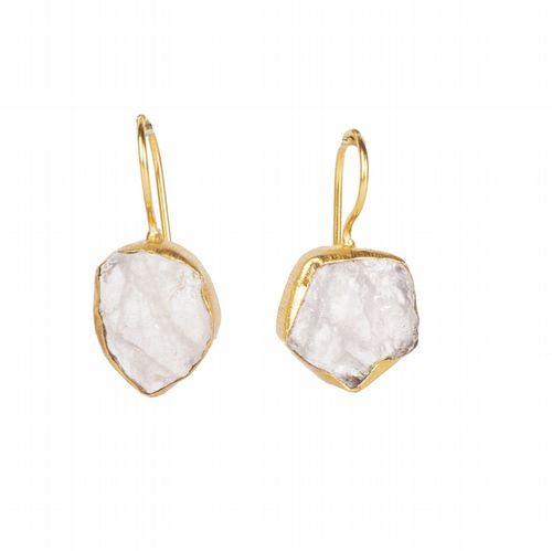 Raw Stone Drop Earrings - Crystal Quartz